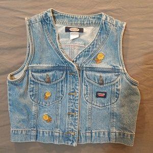 4d0a9686c9a ... womens size 7 M Vintage Jordache Cropped Vest Daisy Denim Spring ...